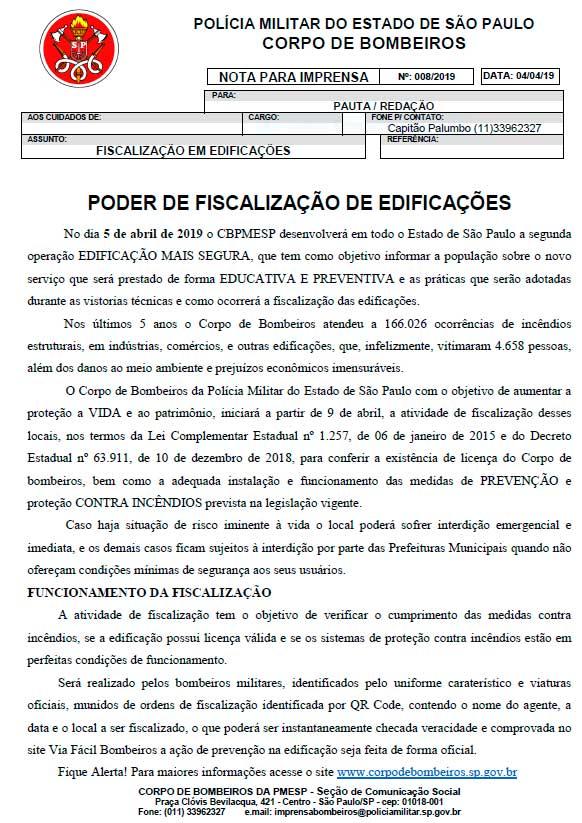 Lei Kiss, Fiscalização do Corpo de Bombeiro de São Paulo, Munhoz Extintores